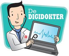 Logo van digidokter. Dokter met laptop.